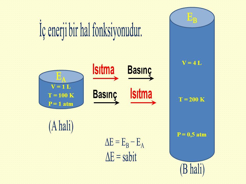 V = 1 L P = 1 atm T = 100 K V = 4 L P = 0,5 atm T = 200 K