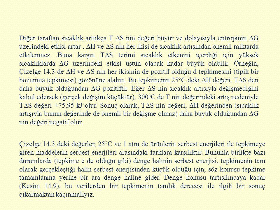 Diğer taraftan sıcaklık arttıkça T ΔS nin değeri büyür ve dolayısıyla entropinin ΔG üzerindeki etkisi artar. ΔH ve ΔS nin her ikisi de sıcaklık artı