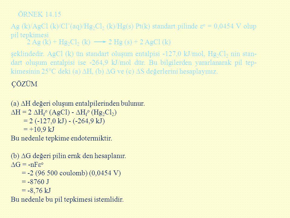 (a) ∆H değeri oluşum entalpilerinden bulunur. ∆H = 2 ∆H f o (AgCl) - ∆H f o (Hg 2 Cl 2 ) = 2 (-127,0 kJ) - (-264,9 kJ) = +10,9 kJ Bu nedenle tepkime e