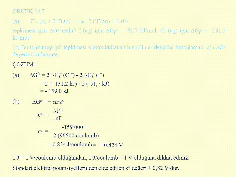 ÖRNEK 14.7 (a) Cl 2 (g) + 2 Iˉ(aq) 2 Clˉ(aq) + I 2 (k) tepkimesi için ∆G o nedir? Iˉ(aq) için ∆G f o = -51,7 kJ/mol; Clˉ(aq) için ∆G f o = -131,2 kJ/m