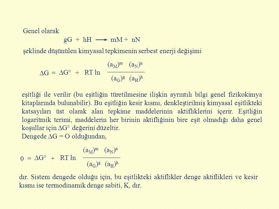 eşitliği ile verilir (bu eşitliğin türetilmesine ilişkin ayrıntılı bilgi genel fizikokimya kitaplarında bulunabilir). Bu eşitliğin kesir kısmı, denkle