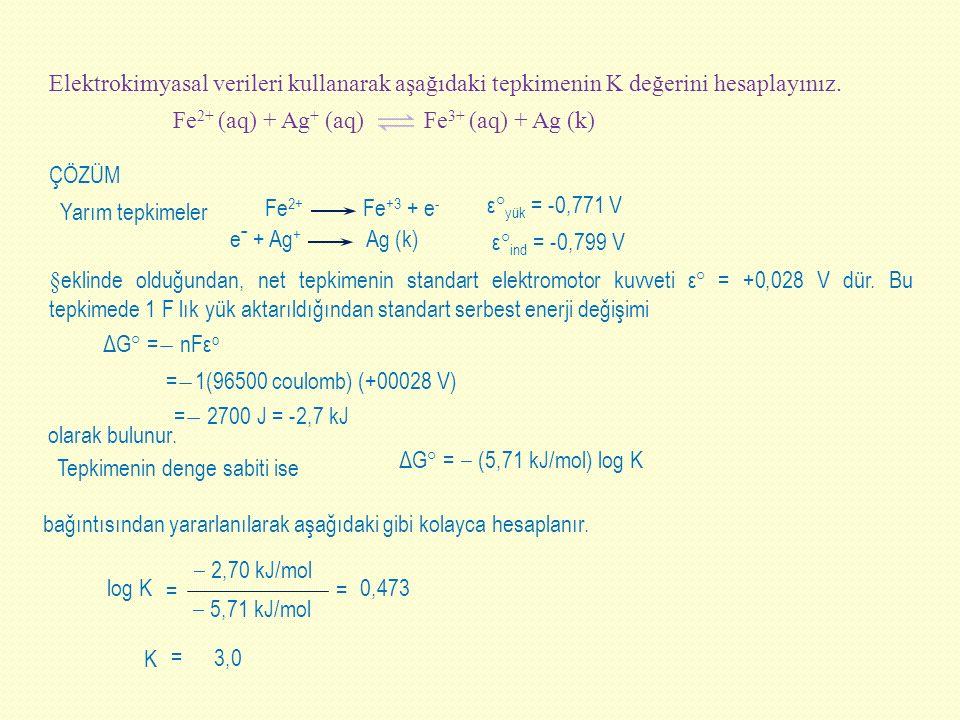 Fe 2+ Fe +3 + e - Elektrokimyasal verileri kullanarak aşağıdaki tepkimenin K değerini hesaplayınız. Fe 2+ (aq) + Ag + (aq) Fe 3+ (aq) + Ag (k) ÇÖZÜM