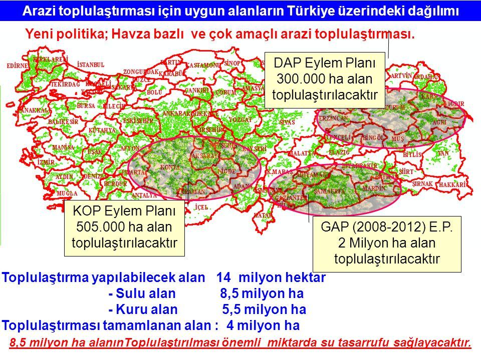 Arazi toplulaştırması için uygun alanların Türkiye üzerindeki dağılımı Toplulaştırma yapılabilecek alan 14 milyon hektar - Sulu alan 8,5 milyon ha - K