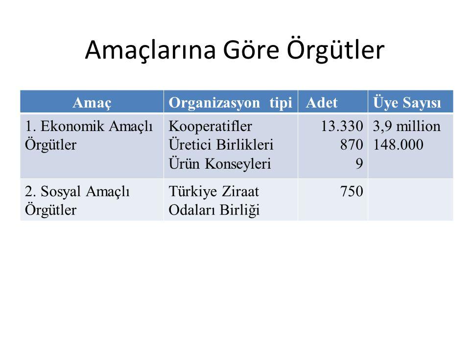 Amaçlarına Göre Örgütler AmaçOrganizasyon tipi AdetÜye Sayısı 1. Ekonomik Amaçlı Örgütler Kooperatifler Üretici Birlikleri Ürün Konseyleri 13.330 870