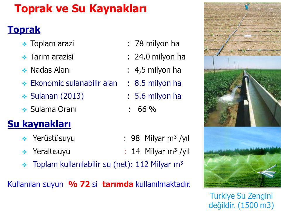 Toprak  Toplam arazi : 78 milyon ha  Tarım arazisi : 24.0 milyon ha  Nadas Alanı : 4,5 milyon ha  Ekonomic sulanabilir alan : 8.5 milyon ha  Sula