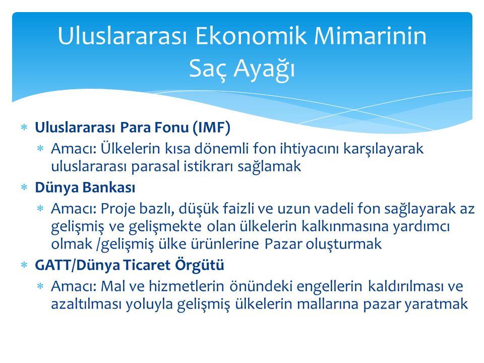 Uluslararası Ekonomik Mimarinin Saç Ayağı  Uluslararası Para Fonu (IMF)  Amacı: Ülkelerin kısa dönemli fon ihtiyacını karşılayarak uluslararası parasal istikrarı sağlamak  Dünya Bankası  Amacı: Proje bazlı, düşük faizli ve uzun vadeli fon sağlayarak az gelişmiş ve gelişmekte olan ülkelerin kalkınmasına yardımcı olmak /gelişmiş ülke ürünlerine Pazar oluşturmak  GATT/Dünya Ticaret Örgütü  Amacı: Mal ve hizmetlerin önündeki engellerin kaldırılması ve azaltılması yoluyla gelişmiş ülkelerin mallarına pazar yaratmak