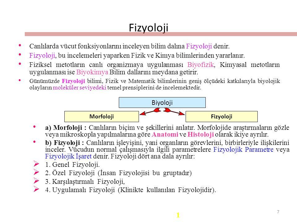 7 Fizyoloji Canlılarda vücut fonksiyonlarını inceleyen bilim dalına Fizyoloji denir.
