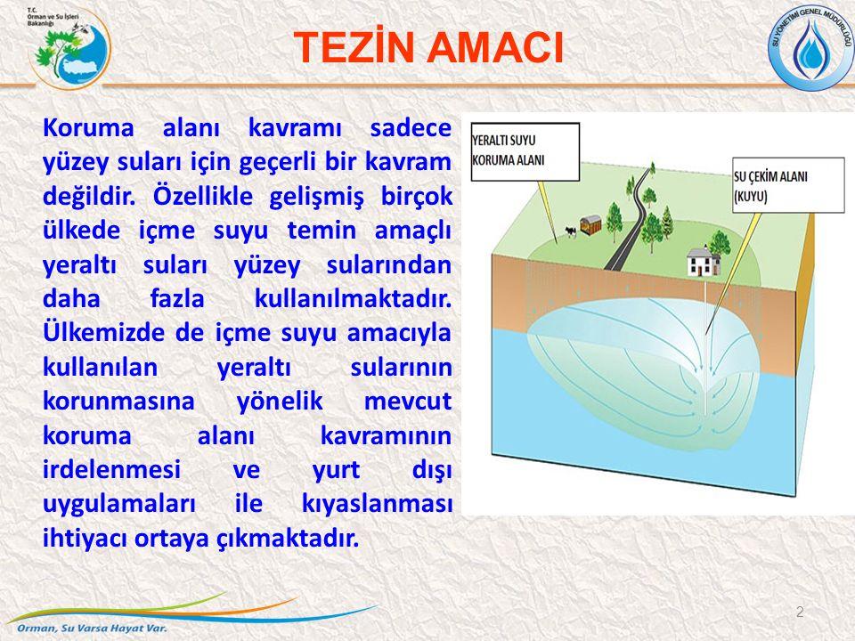 TEZİN AMACI Koruma alanı kavramı sadece yüzey suları için geçerli bir kavram değildir. Özellikle gelişmiş birçok ülkede içme suyu temin amaçlı yeraltı