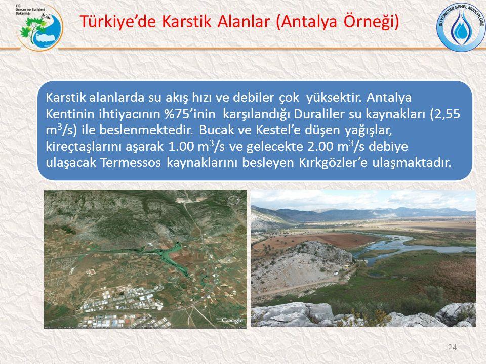 Türkiye'de Karstik Alanlar (Antalya Örneği) 24 Karstik alanlarda su akış hızı ve debiler çok yüksektir. Antalya Kentinin ihtiyacının %75'inin karşılan