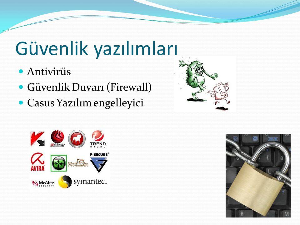 Güvenlik yazılımları Antivirüs Güvenlik Duvarı (Firewall) Casus Yazılım engelleyici