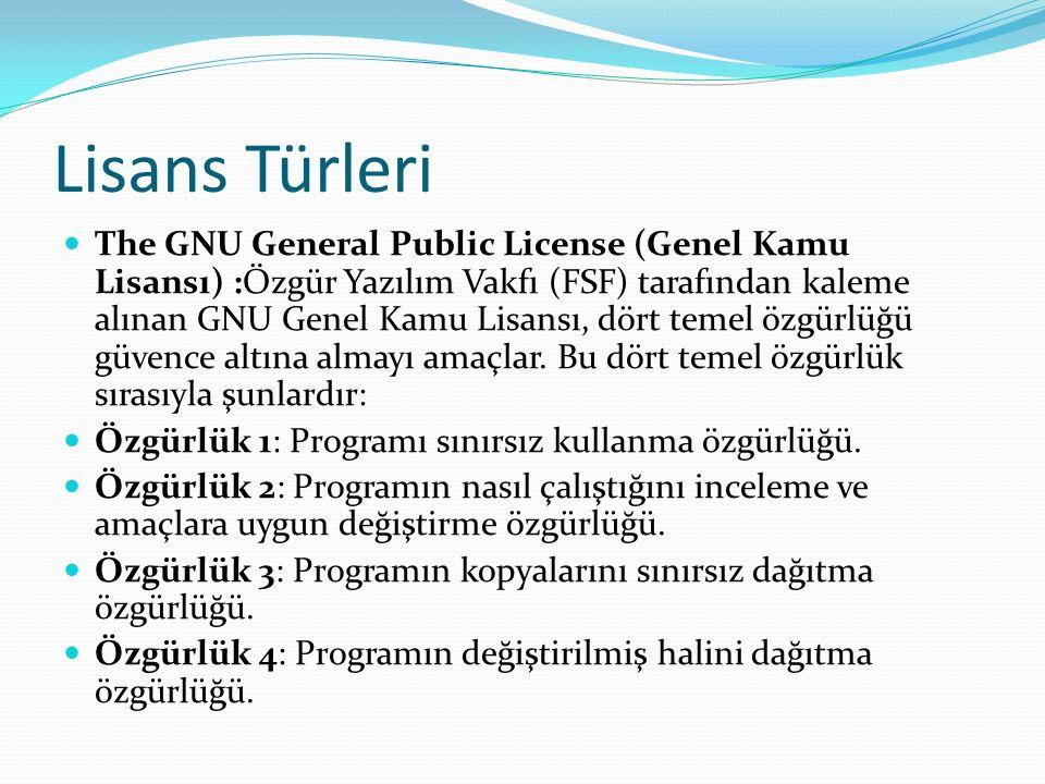 Lisans Türleri The GNU General Public License (Genel Kamu Lisansı) :Özgür Yazılım Vakfı (FSF) tarafından kaleme alınan GNU Genel Kamu Lisansı, dört temel özgürlüğü güvence altına almayı amaçlar.
