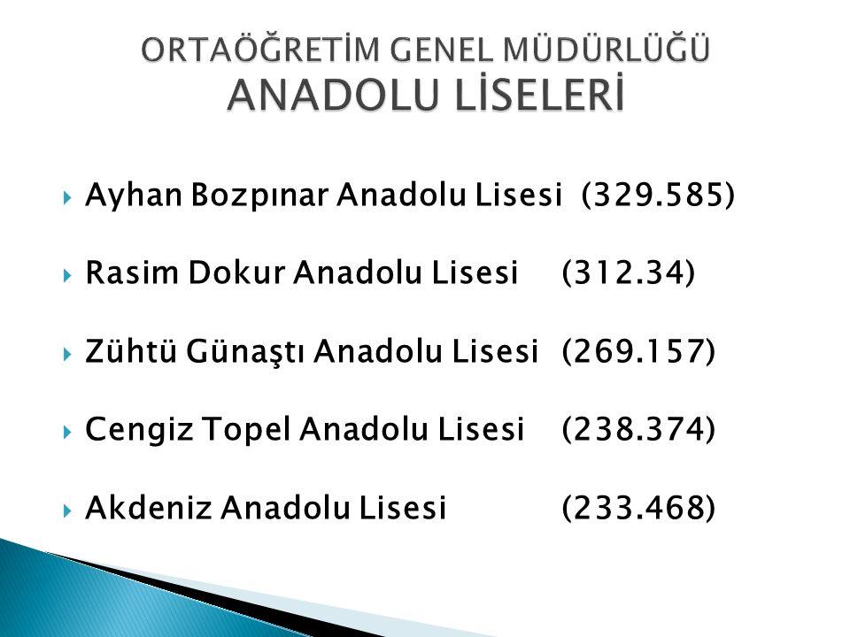  Ayhan Bozpınar Anadolu Lisesi (329.585)  Rasim Dokur Anadolu Lisesi(312.34)  Zühtü Günaştı Anadolu Lisesi(269.157)  Cengiz Topel Anadolu Lisesi(2