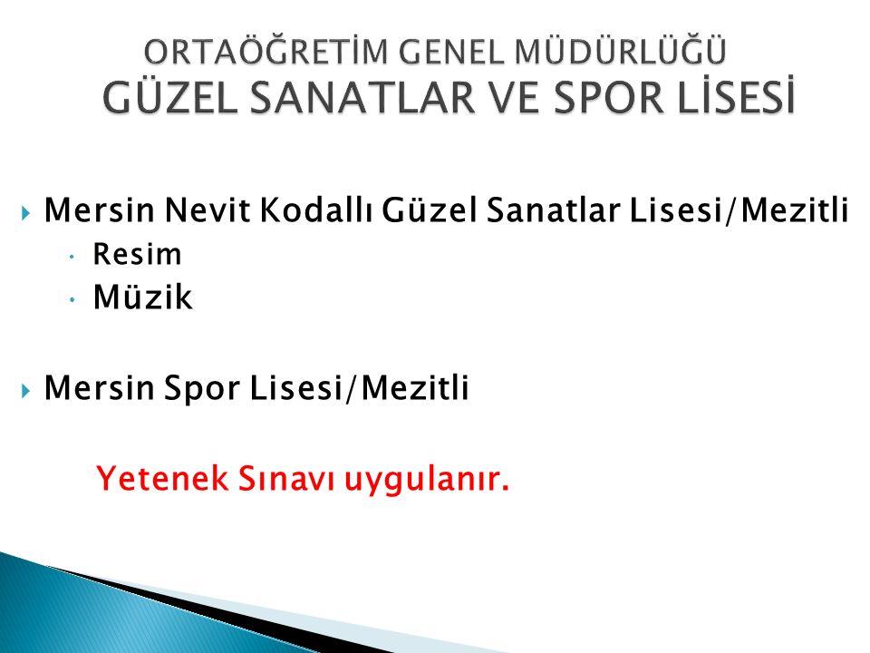  Mersin Nevit Kodallı Güzel Sanatlar Lisesi/Mezitli  Resim  Müzik  Mersin Spor Lisesi/Mezitli Yetenek Sınavı uygulanır.