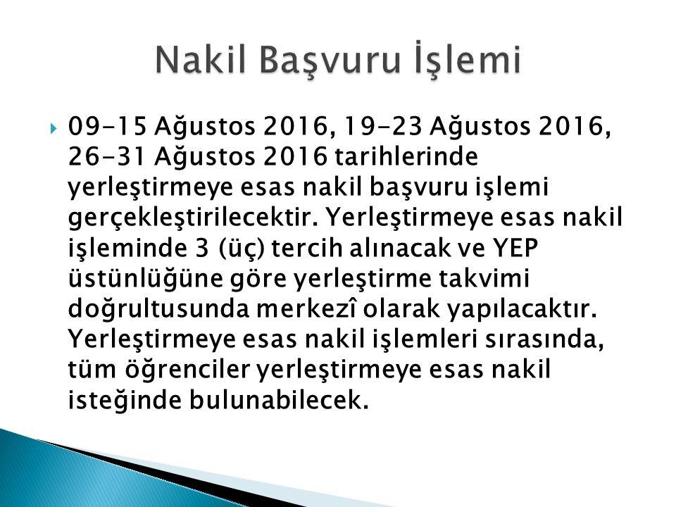  09-15 Ağustos 2016, 19-23 Ağustos 2016, 26-31 Ağustos 2016 tarihlerinde yerleştirmeye esas nakil başvuru işlemi gerçekleştirilecektir. Yerleştirmeye