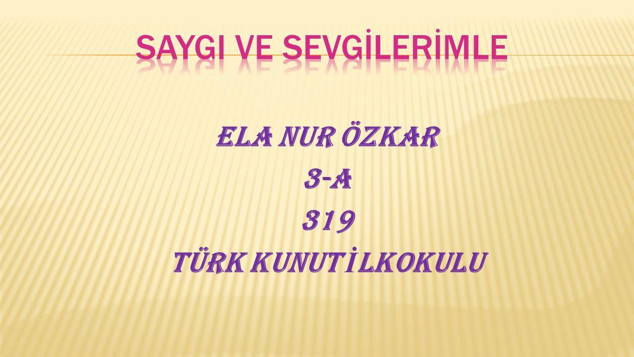 Ela Nur ÖZKAR 3-A 319 TÜRK KUNUT İ LKOKULU