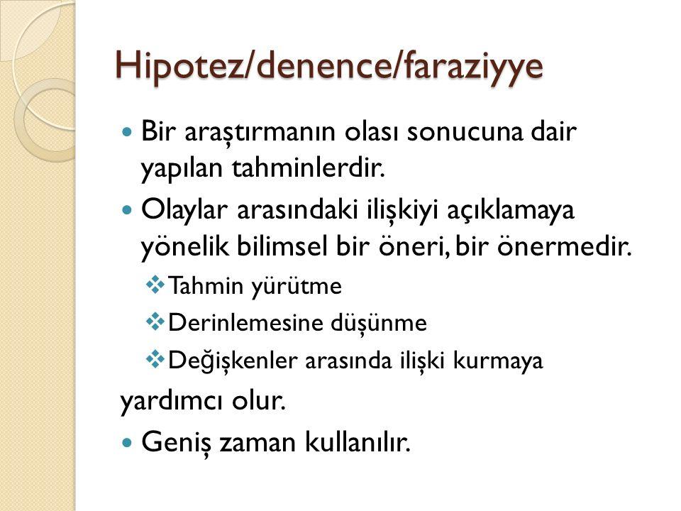 Hipotez/denence/faraziyye Bir araştırmanın olası sonucuna dair yapılan tahminlerdir.