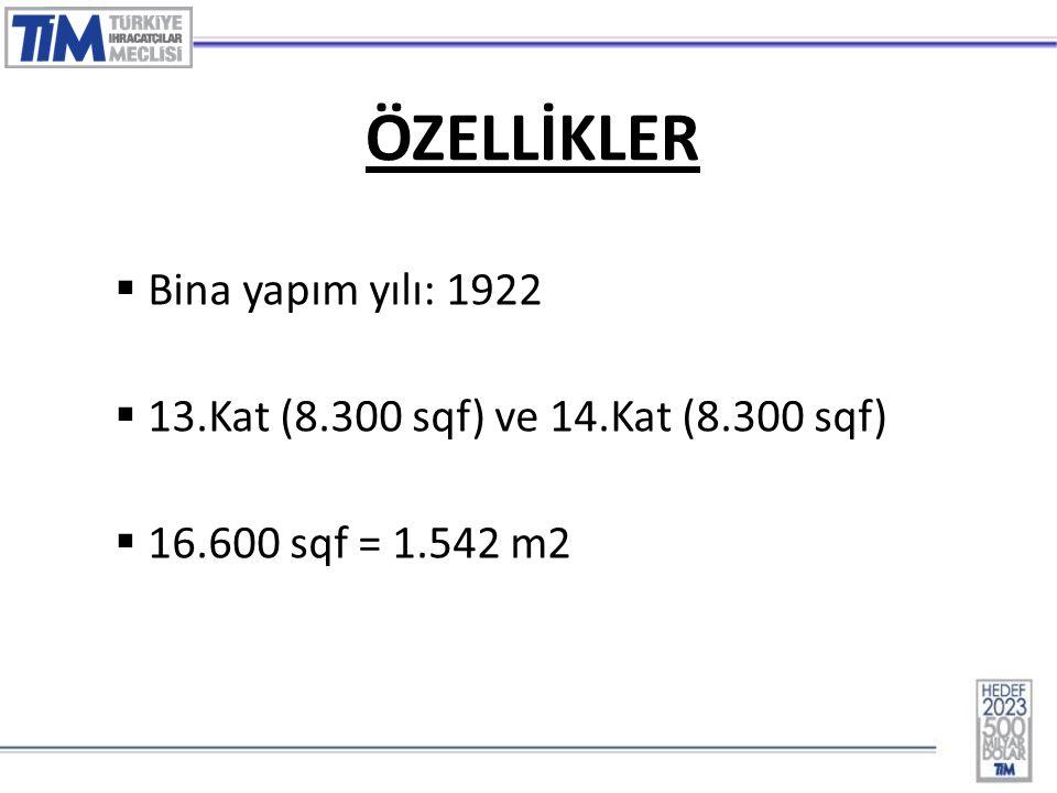 3 ÖZELLİKLER  Bina yapım yılı: 1922  13.Kat (8.300 sqf) ve 14.Kat (8.300 sqf)  16.600 sqf = 1.542 m2