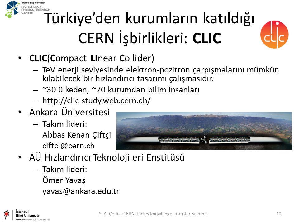 Türkiye'den kurumların katıldığı CERN İşbirlikleri: CLIC CLIC(Compact LInear Collider) – TeV enerji seviyesinde elektron-pozitron çarpışmalarını mümkü