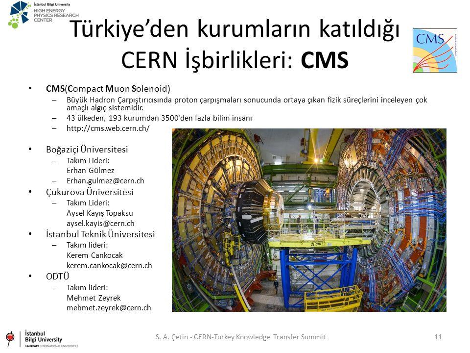 Türkiye'den kurumların katıldığı CERN İşbirlikleri: CMS CMS(Compact Muon Solenoid) – Büyük Hadron Çarpıştırıcısında proton çarpışmaları sonucunda orta