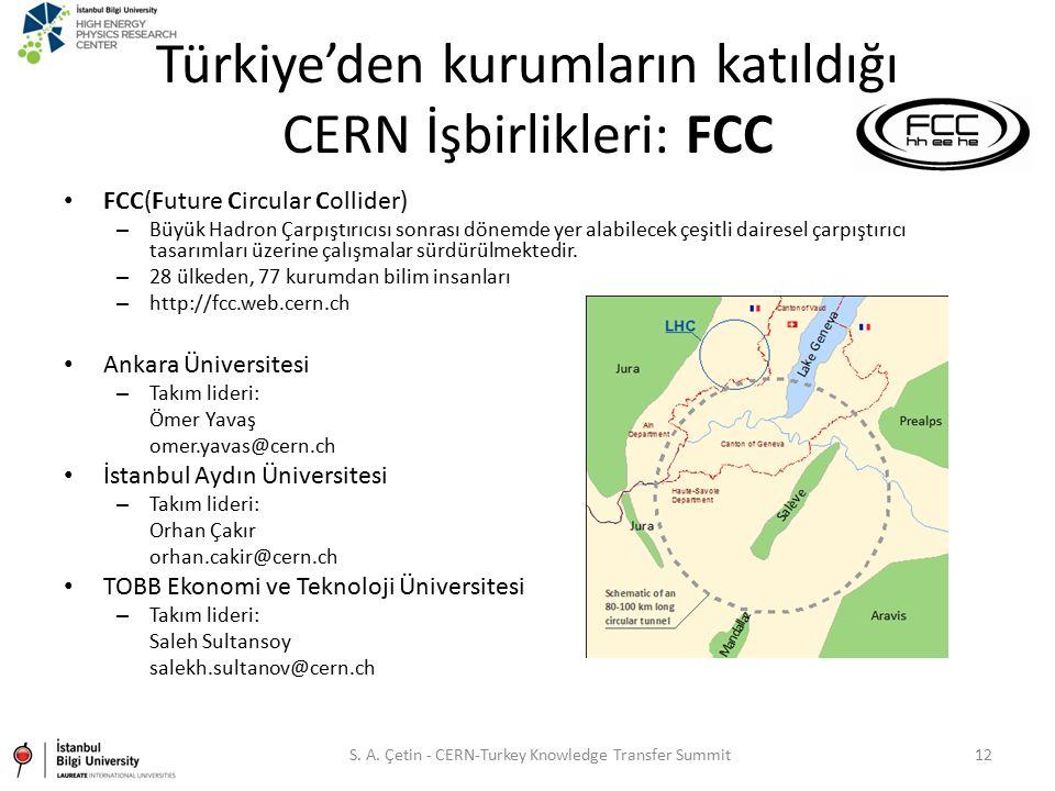 Türkiye'den kurumların katıldığı CERN İşbirlikleri: FCC FCC(Future Circular Collider) – Büyük Hadron Çarpıştırıcısı sonrası dönemde yer alabilecek çeş