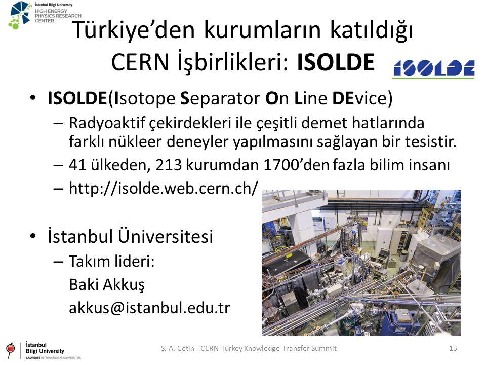 Türkiye'den kurumların katıldığı CERN İşbirlikleri: ISOLDE ISOLDE(Isotope Separator On Line DEvice) – Radyoaktif çekirdekleri ile çeşitli demet hatlar
