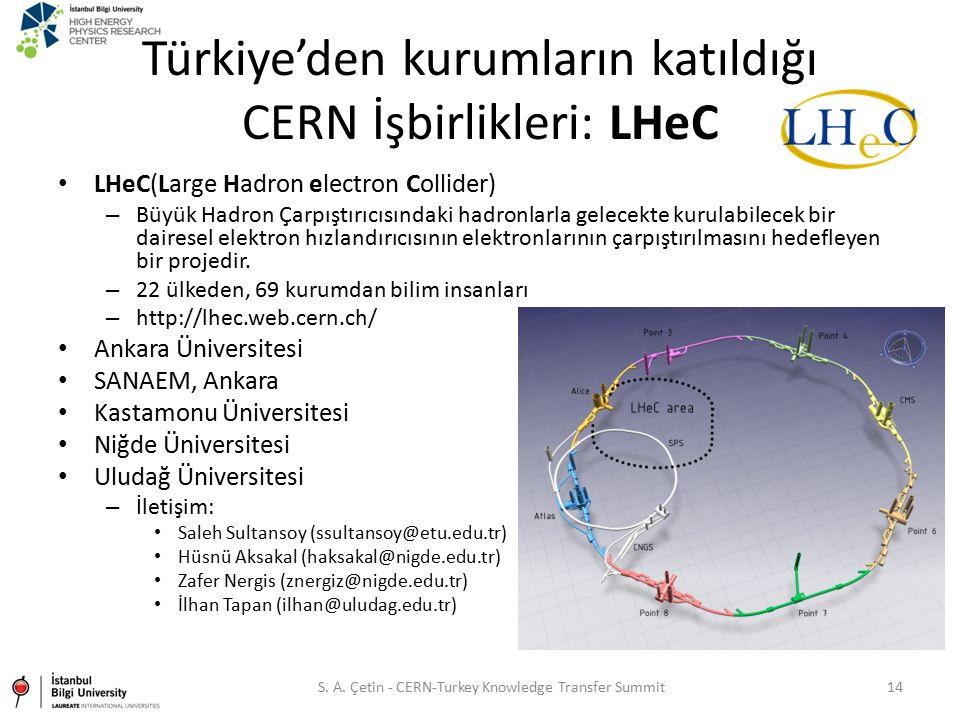 Türkiye'den kurumların katıldığı CERN İşbirlikleri: LHeC LHeC(Large Hadron electron Collider) – Büyük Hadron Çarpıştırıcısındaki hadronlarla gelecekte