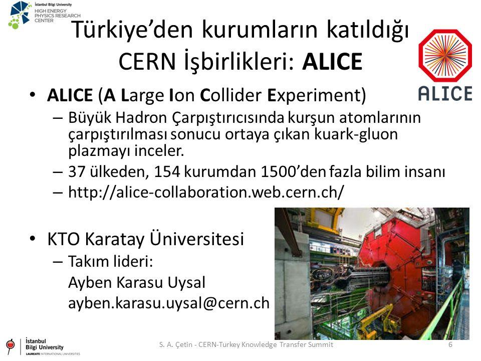 Türkiye'den kurumların katıldığı CERN İşbirlikleri: ALICE ALICE (A Large Ion Collider Experiment) – Büyük Hadron Çarpıştırıcısında kurşun atomlarının