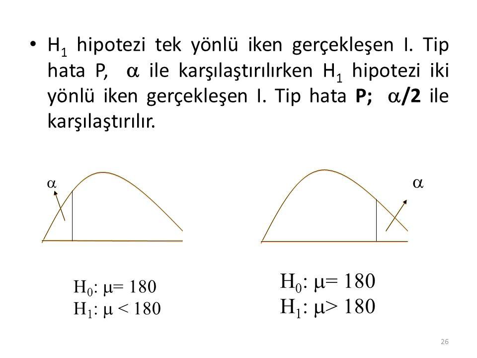 H 1 hipotezi tek yönlü iken gerçekleşen I. Tip hata P,  ile karşılaştırılırken H 1 hipotezi iki yönlü iken gerçekleşen I. Tip hata P;  /2 ile karşıl