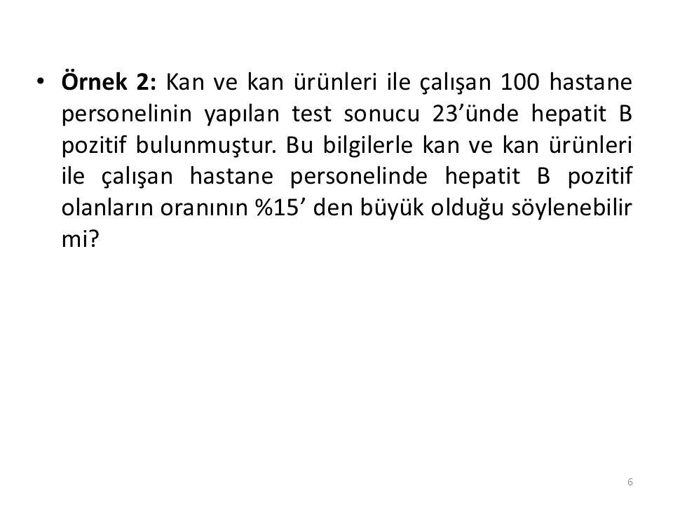 Örnek 2: Kan ve kan ürünleri ile çalışan 100 hastane personelinin yapılan test sonucu 23'ünde hepatit B pozitif bulunmuştur. Bu bilgilerle kan ve kan