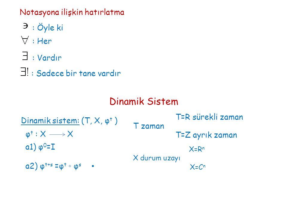 Notasyona ilişkin hatırlatma : Her : Vardır : Sadece bir tane vardır : Öyle ki Dinamik Sistem Dinamik sistem: (T, X, φ t ) T=R sürekli zaman T=Z ayrık zaman X durum uzayı T zaman X=R n X=C n φ t : X X a1) φ 0 =I a2) φ t+s =φ t ◦ φ s ▪