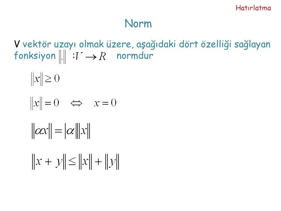 Norm V vektör uzayı olmak üzere, aşağıdaki dört özelliği sağlayan fonksiyon : normdur Hatırlatma