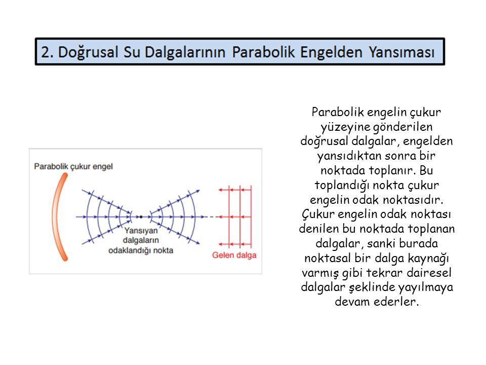 Parabolik engelin çukur yüzeyine gönderilen doğrusal dalgalar, engelden yansıdıktan sonra bir noktada toplanır.