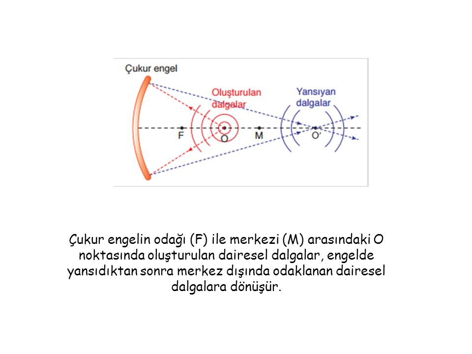 Çukur engelin odağı (F) ile merkezi (M) arasındaki O noktasında oluşturulan dairesel dalgalar, engelde yansıdıktan sonra merkez dışında odaklanan dairesel dalgalara dönüşür.