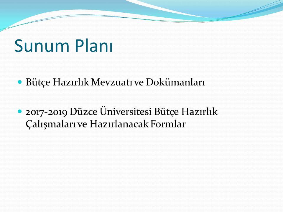 Sunum Planı Bütçe Hazırlık Mevzuatı ve Dokümanları 2017-2019 Düzce Üniversitesi Bütçe Hazırlık Çalışmaları ve Hazırlanacak Formlar