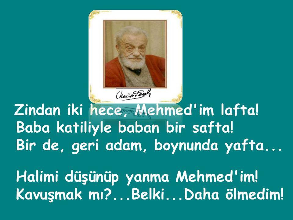 Zindan iki hece, Mehmed im lafta.Baba katiliyle baban bir safta.