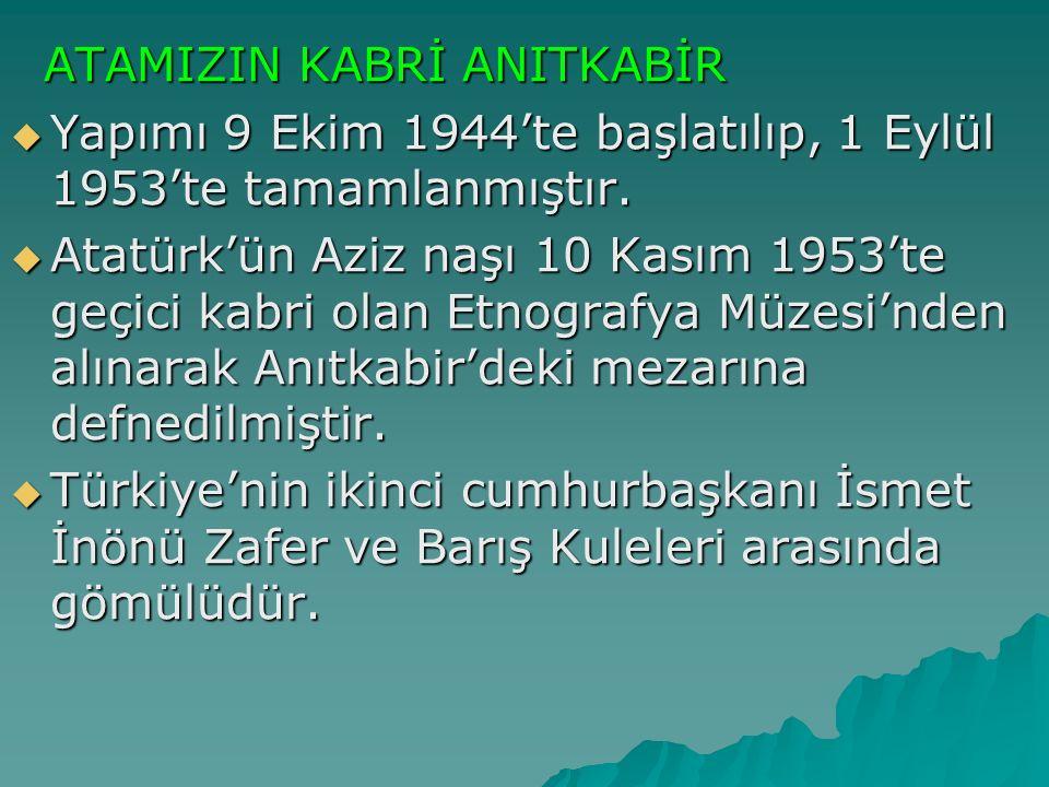 ATAMIZIN KABRİ ANITKABİR ATAMIZIN KABRİ ANITKABİR  Yapımı 9 Ekim 1944'te başlatılıp, 1 Eylül 1953'te tamamlanmıştır.  Atatürk'ün Aziz naşı 10 Kasım