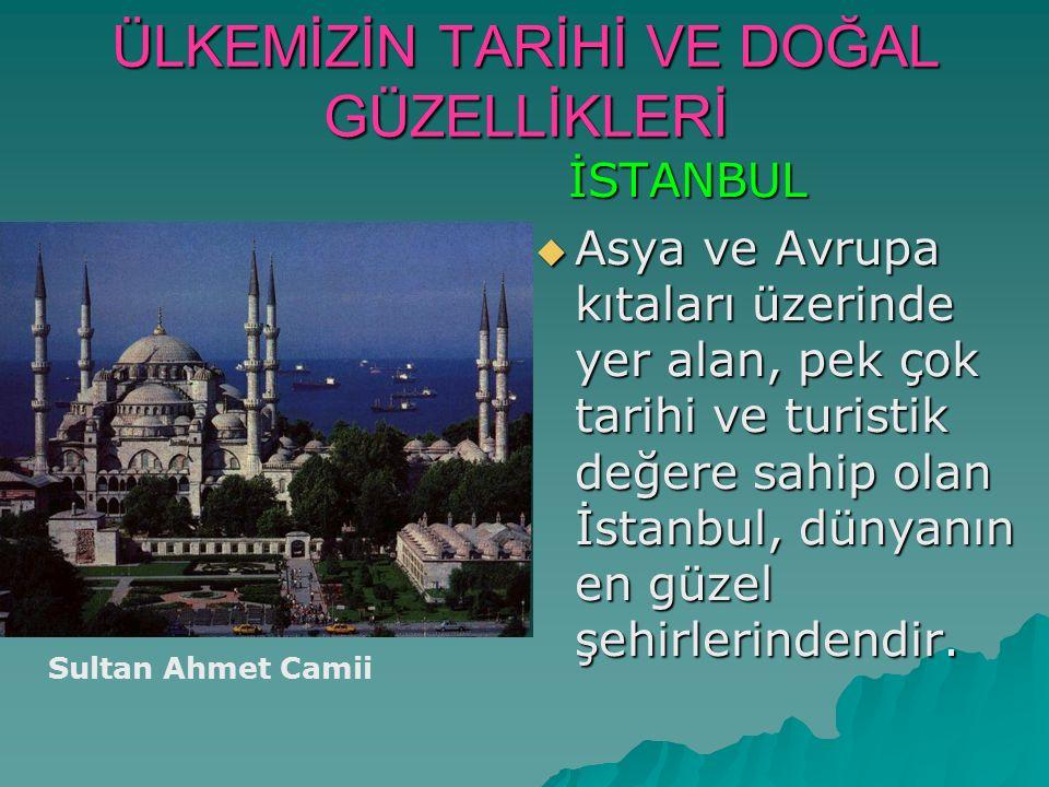 ÜLKEMİZİN TARİHİ VE DOĞAL GÜZELLİKLERİ İSTANBUL İSTANBUL  Asya ve Avrupa kıtaları üzerinde yer alan, pek çok tarihi ve turistik değere sahip olan İst