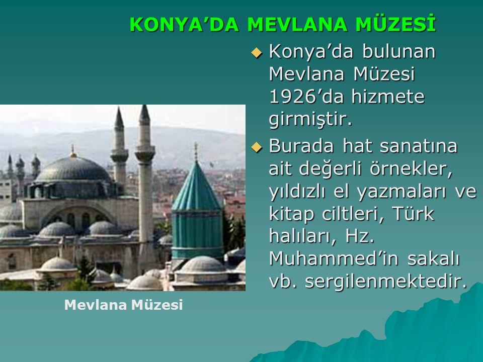  Konya'da bulunan Mevlana Müzesi 1926'da hizmete girmiştir.  Burada hat sanatına ait değerli örnekler, yıldızlı el yazmaları ve kitap ciltleri, Türk