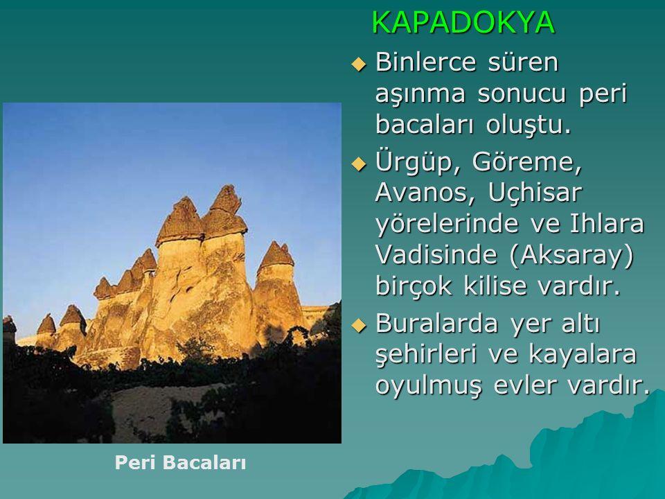 KAPADOKYA KAPADOKYA  Binlerce süren aşınma sonucu peri bacaları oluştu.  Ürgüp, Göreme, Avanos, Uçhisar yörelerinde ve Ihlara Vadisinde (Aksaray) bi