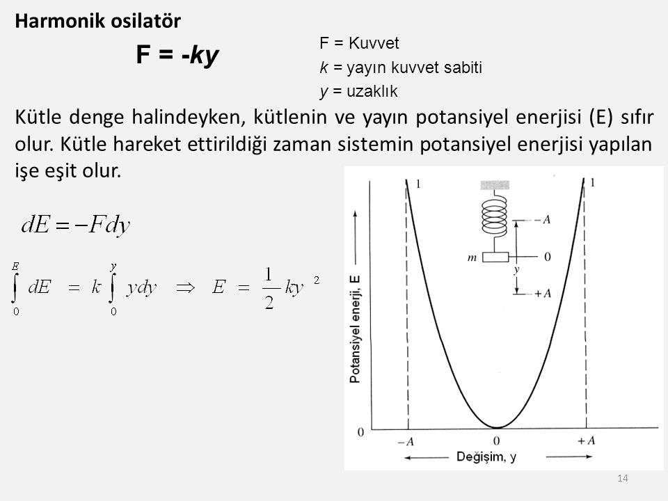Harmonik osilatör Kütle denge halindeyken, kütlenin ve yayın potansiyel enerjisi (E) sıfır olur. Kütle hareket ettirildiği zaman sistemin potansiyel e