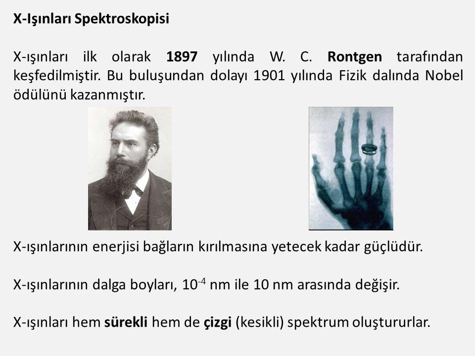 X-Işınları Spektroskopisi X-ışınları ilk olarak 1897 yılında W. C. Rontgen tarafından keşfedilmiştir. Bu buluşundan dolayı 1901 yılında Fizik dalında