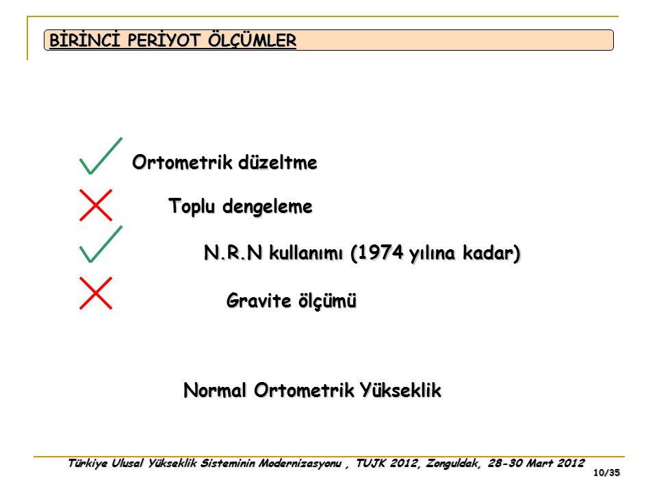 Türkiye Ulusal Yükseklik Sisteminin Modernizasyonu, TUJK 2012, Zonguldak, 28-30 Mart 2012 10/35 BİRİNCİ PERİYOT ÖLÇÜMLER Ortometrik düzeltme Toplu den