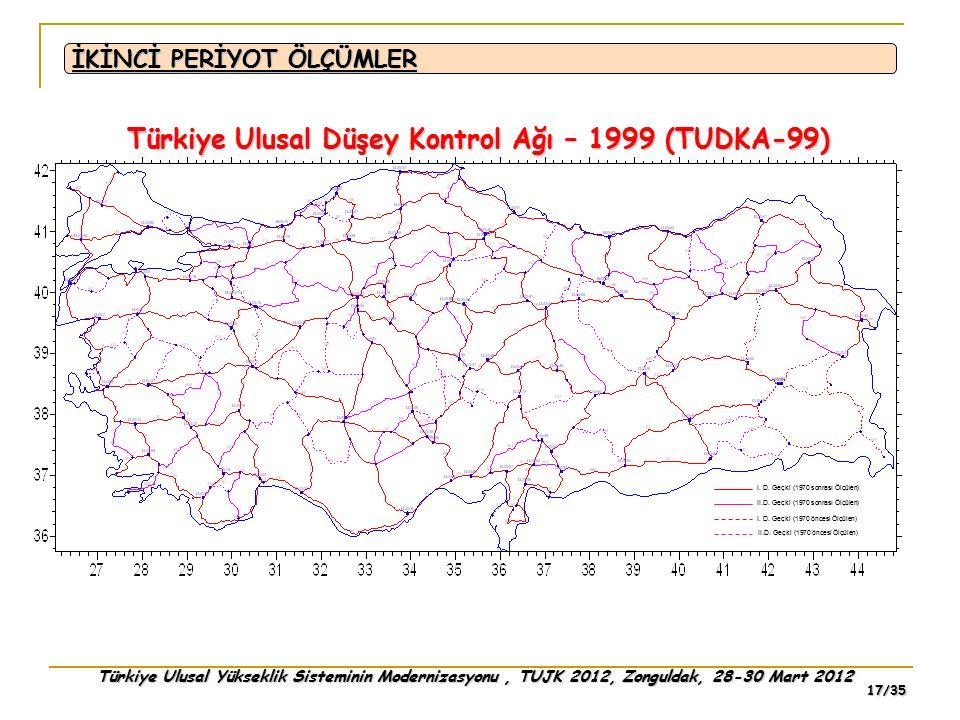 Türkiye Ulusal Yükseklik Sisteminin Modernizasyonu, TUJK 2012, Zonguldak, 28-30 Mart 2012 17/35 I. D. Geçki (1970 sonrası Ölçülen) II.D. Geçki (1970 s