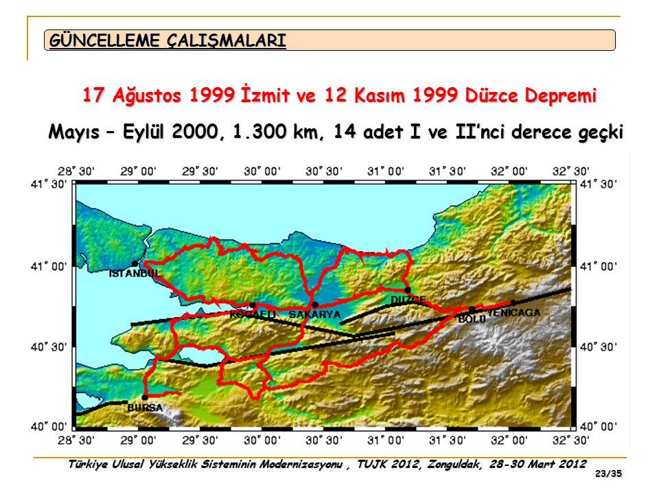 Türkiye Ulusal Yükseklik Sisteminin Modernizasyonu, TUJK 2012, Zonguldak, 28-30 Mart 2012 23/35 17 Ağustos 1999 İzmit ve 12 Kasım 1999 Düzce Depremi G