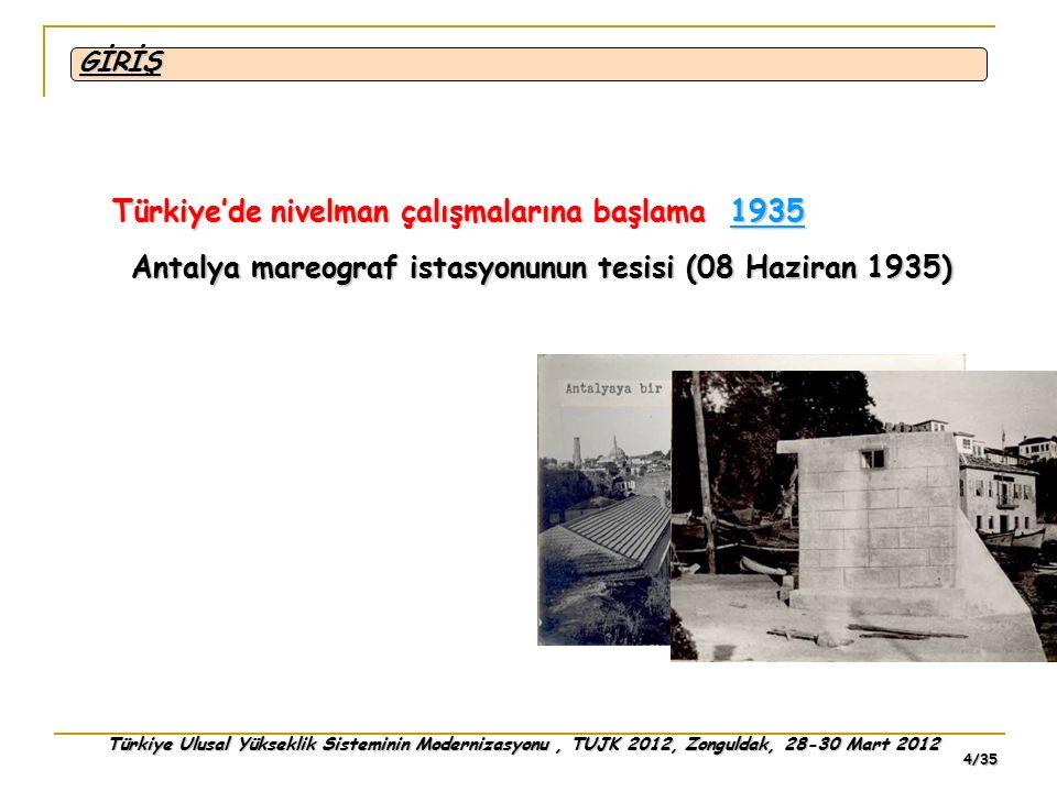 Türkiye Ulusal Yükseklik Sisteminin Modernizasyonu, TUJK 2012, Zonguldak, 28-30 Mart 2012 5/35 Hat bazında ilk nivelman çalışması Antalya mareografından Burdur yolunu takiben Korkuteli yolu ile Zivint nahiyesindeki Çerkes köyüne uzanan 72 km'lik güzergâh GİRİŞ 1935 1936 Kızılkaya üzerinden Bucak yolu ile Burdur'a, oradan da Dinar'a kadar 148 km Antalya'dan Dinar'a toplam 220 km