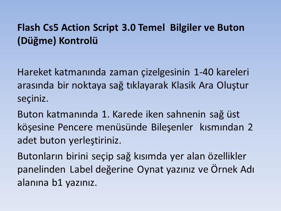 Flash Cs5 Action Script 3.0 Temel Bilgiler ve Buton (Düğme) Kontrolü Diğer butonu seçip sağ kısımda yer alan özellikler panelinden Label değerine Durdur yazınız ve Örnek Adı alanına b2 yazınız.