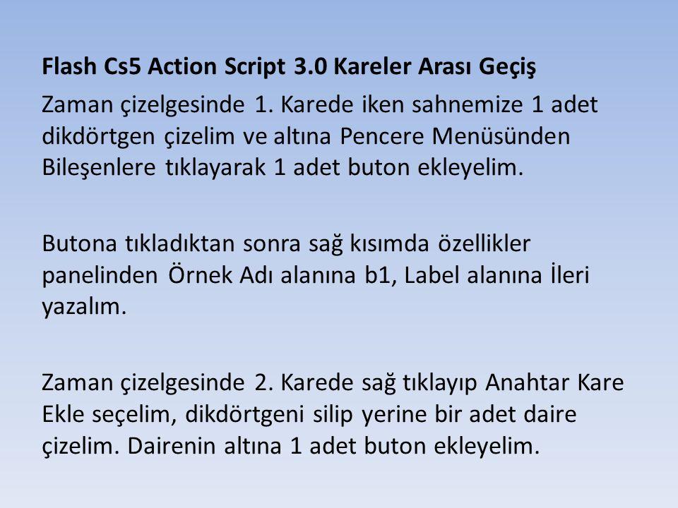 Flash Cs5 Action Script 3.0 Kareler Arası Geçiş İkinci karede Butona tıkladıktan sonra sağ kısımda özellikler panelinden Örnek Adı alanına b2, Label alanına Geri yazalım.