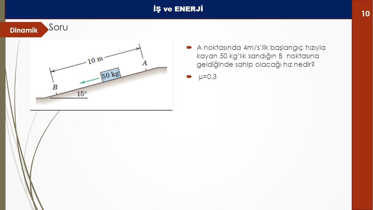 Dinamik Soru İŞ ve ENERJİ 10  A noktasında 4m/s'lik başlangıç hızıyla kayan 50 kg'lık sandığın B noktasına geldiğinde sahip olacağı hız nedir.