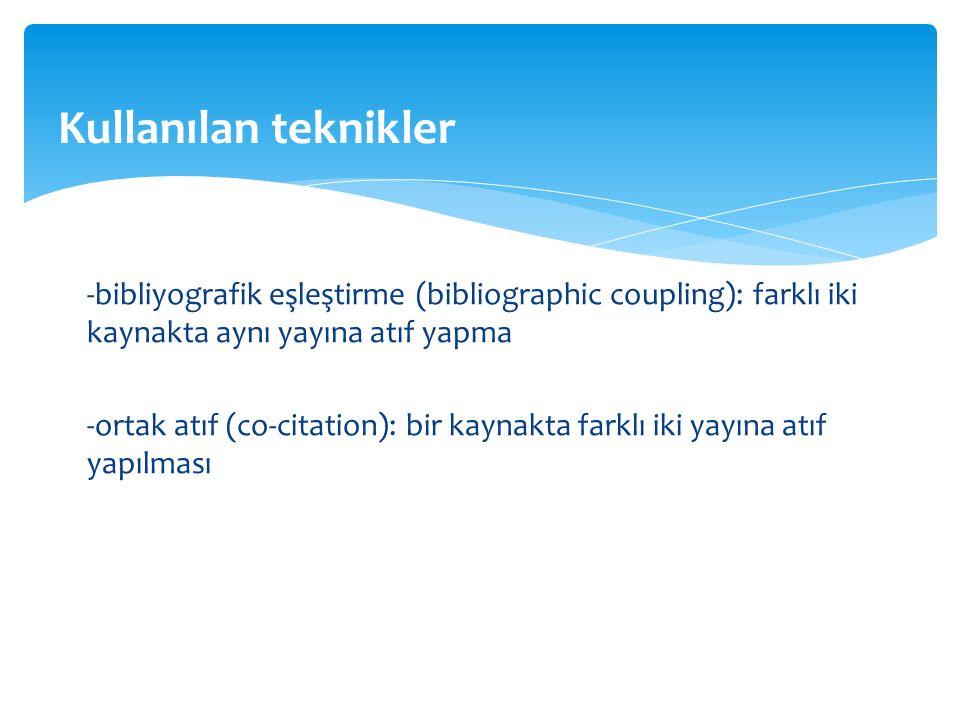 -bibliyografik eşleştirme (bibliographic coupling): farklı iki kaynakta aynı yayına atıf yapma -ortak atıf (co-citation): bir kaynakta farklı iki yayına atıf yapılması Kullanılan teknikler