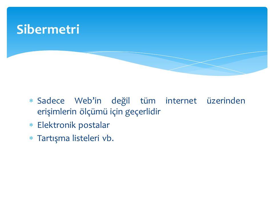  Sadece Web'in değil tüm internet üzerinden erişimlerin ölçümü için geçerlidir  Elektronik postalar  Tartışma listeleri vb.
